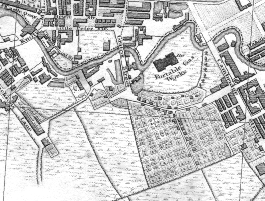 From this 1824 map - note how the Medlock bends away at 45 degrees from what is now Whitworth St. Then it bends sharply back upwards before entering the tunnel under the bridge under Medlock St. Note also Medlock St was then called Gratrix St.